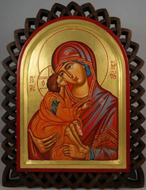 The Virgin Eleousa (carved wood) Icon with Polished Gold Leaf