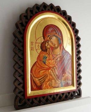 Theotokos Eleusa Hand-Painted Byzantine Icon on Carved Wood