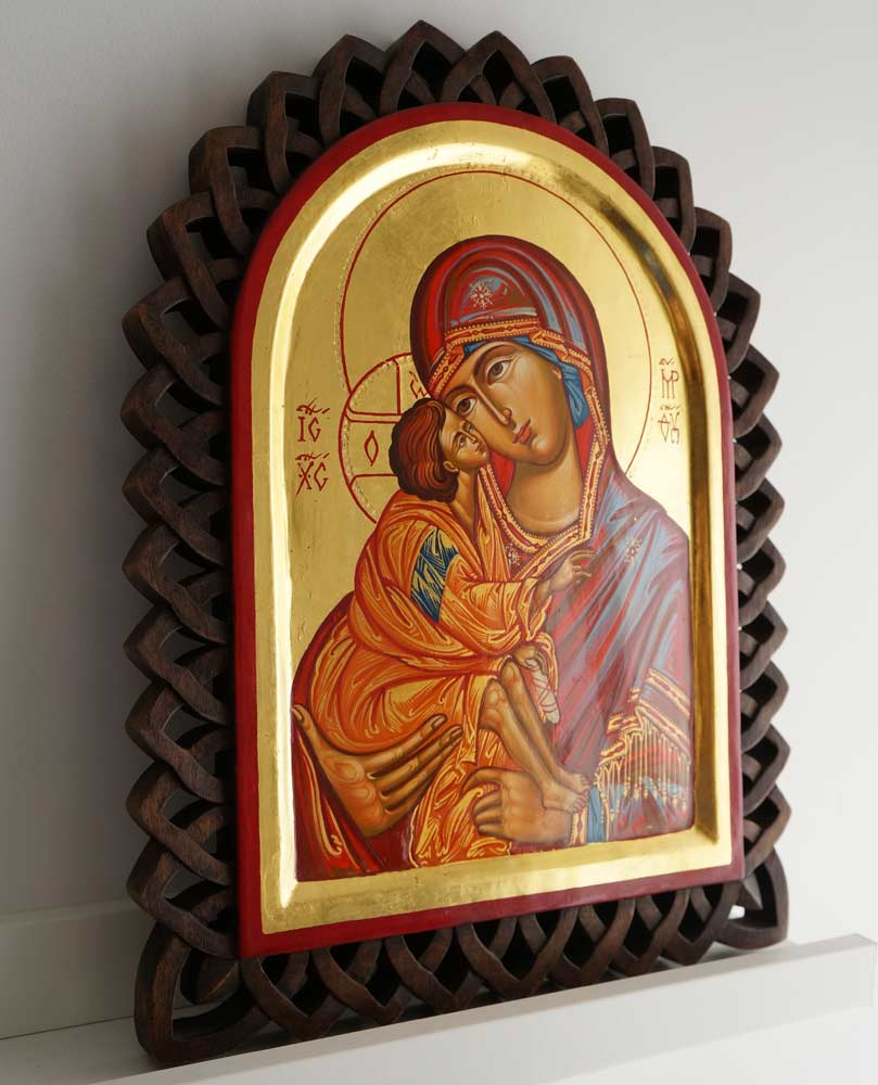 Theotokos Eleusa Hand-Painted Byzantine Icon on Carved Wood