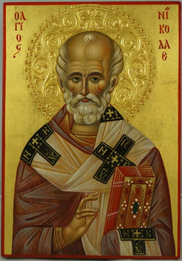 St Nicholas (halo relief) Hand-Painted Byzantine Icon