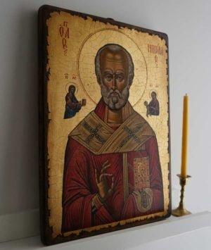 Saint Nicholas (Nesebar 17th c.) Hand-Painted Byzantine Icon
