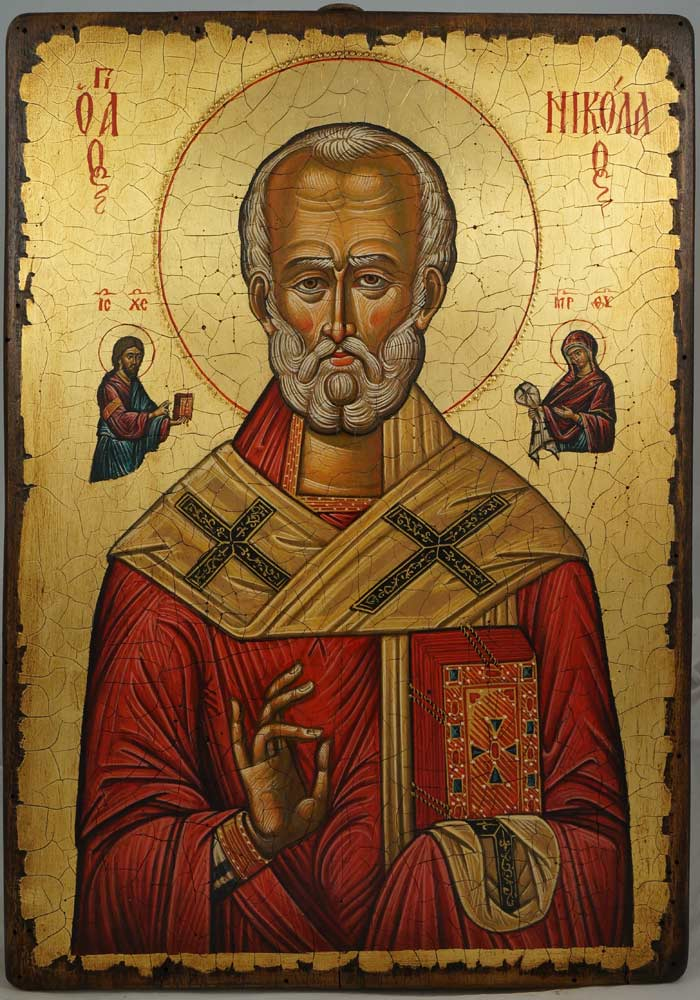 Saint Nicholas (Nesebar 17th c.) Hand-Painted Byzantine Icon