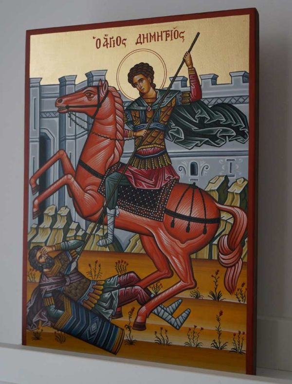 St Demetrius on Horseback Hand-Painted Greek Icon