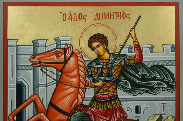St Demetrios on Horseback Hand-Painted Greek Icon
