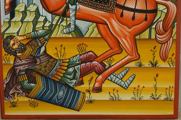 St Demetrios on Horseback Hand-Painted Greek Icon