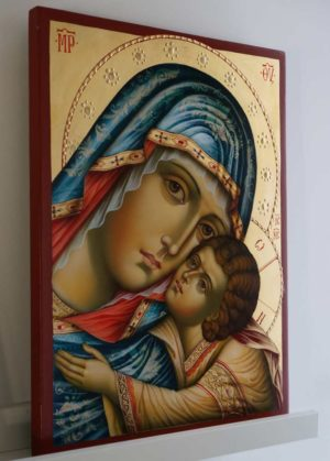 Hand-Painted Orthodox Icon of Virgin of Tenderness