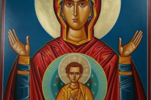 Theotokos of the Sign Hand-Painted Byzantine Icon