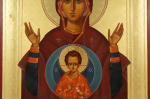 Theotokos of the Sign Oranta Hand-Painted Orthodox Icon