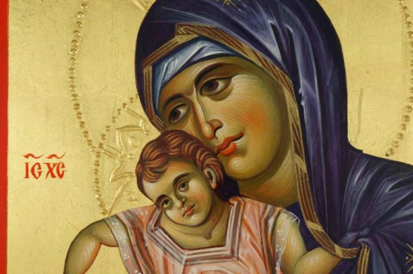 Panagia Axion Estin (halo relief) Hand-Painted Byzantine Icon