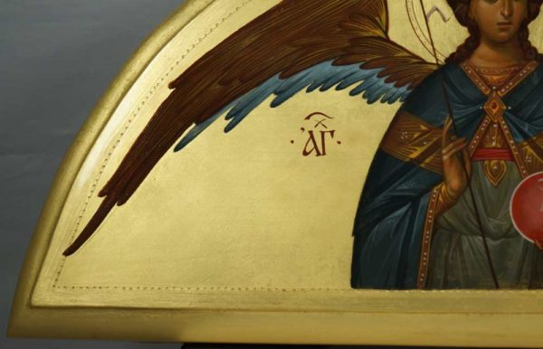 St Archangel Michael Open Wings Hand-Painted Byzantine Icon on Arched Wood