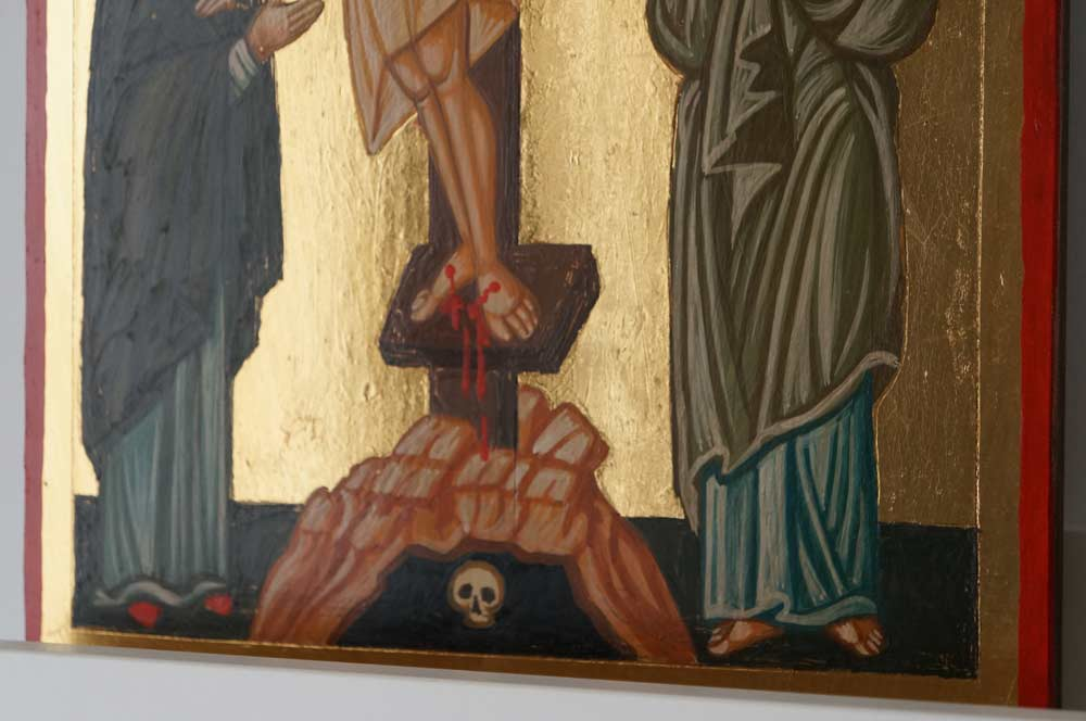 The Crucifixion Hand Painted Byzantine Icon on Wood