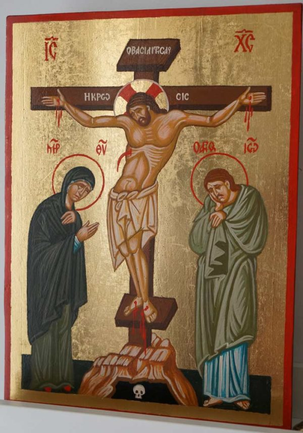 The Crucifixion Hand Painted Byzantine Orthodox Icon on Wood