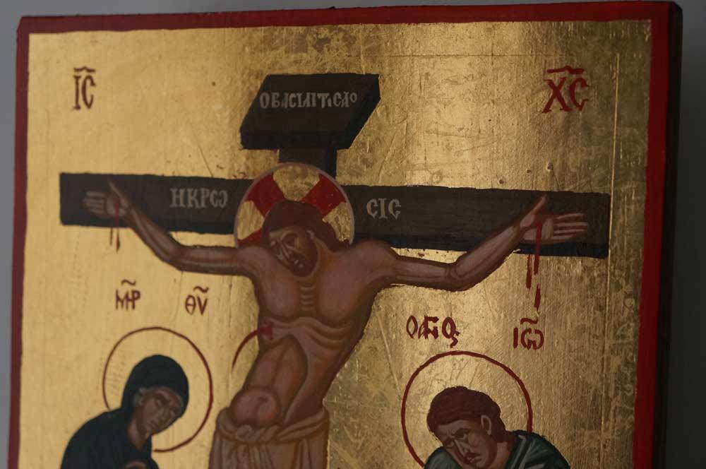 The Crucifixion Hand Painted Byzantine Orthodox Icon on Wood