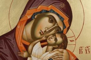 Theotokos Sweet Kissing Hand-Painted Byzantine Icon