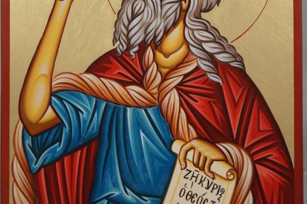 Prophet Elias Holding a Scroll Hand-Painted Orthodox Icon