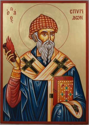 St Spyridon Bishop of Trimythous Hand-Painted Icon