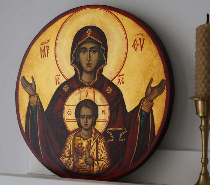 Virgin Mary Oranta Hand-Painted Byzantine Icon