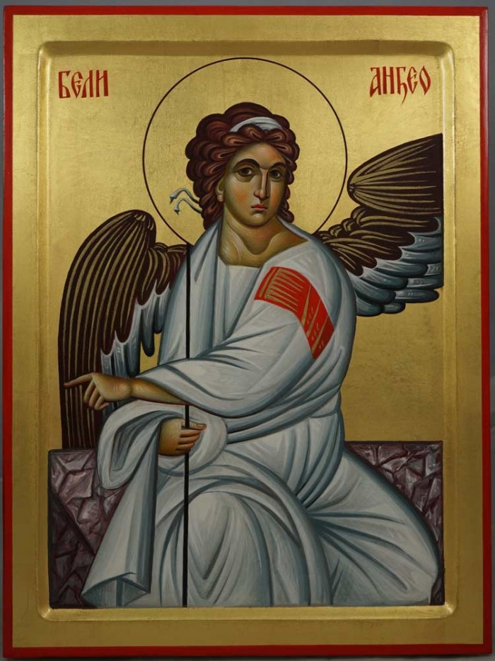 The White Angel of Serbia Hand-Painted Byzantine Icon