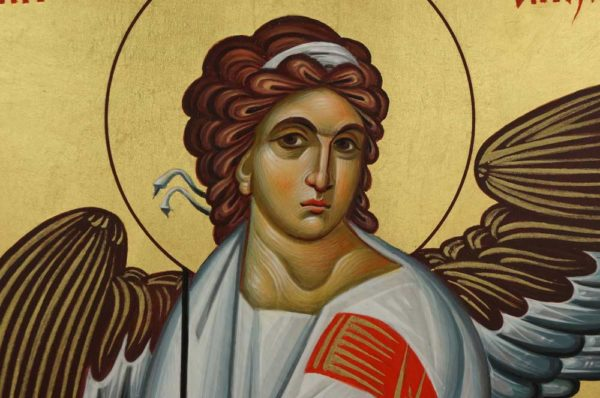 White Angel of Serbia Hand-Painted Byzantine Icon