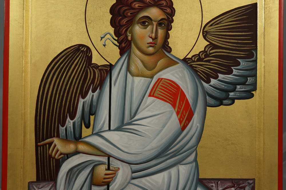 White Angel of Serbia Hand-Painted Byzantine Icon Бели анђео Beli anđeo