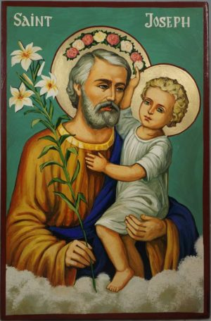 St Joseph and Child Hand-Painted Orthodox Icon