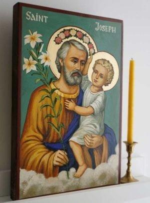 St Joseph and Child Hand-Painted Orthodox Icon