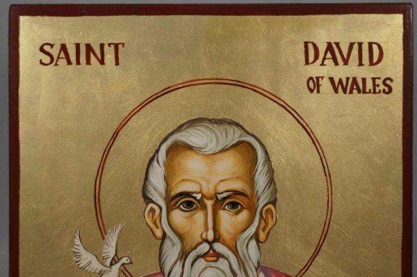 St David of Wales White Dove Hand-Painted Orthodox Icon