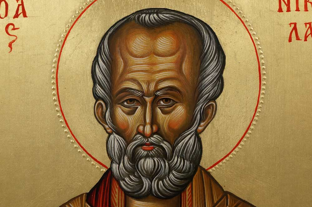 St Nicholas (14th c. Hilandar) Hand-Painted Byzantine Icon
