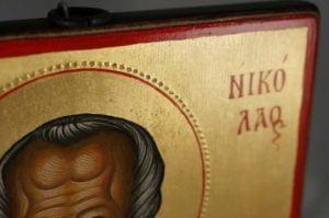 Saint Nicholas Hand-Painted Orthodox Icon Backside