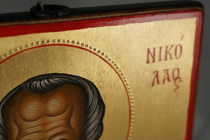 Saint Nicholas Hand-Painted Orthodox Icon Backside