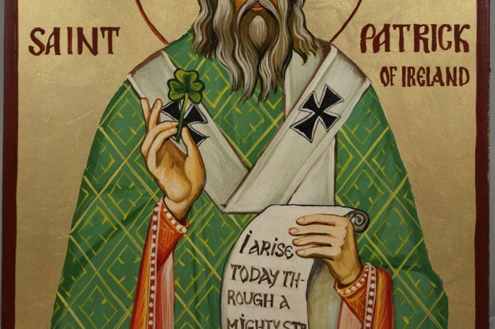 "St Patrick Scroll reads ""I arise today through a mighty strength, the invocation of the Trinity"""