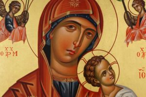 The Virgin of the Passion Hand Painted Byzantine Orthodox Icon on Wood