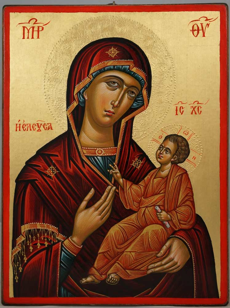 The Virgin Eleusa (14th c. Crete) Hand-Painted Byzantine Icon