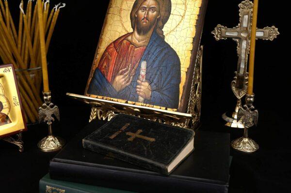 Single Brass Byzantine Candle Stand Eagle Design