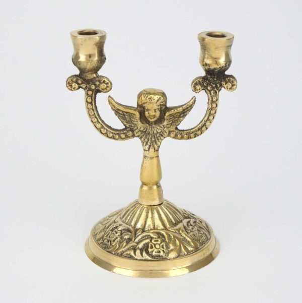 Double Brass Byzantine Candle Holder