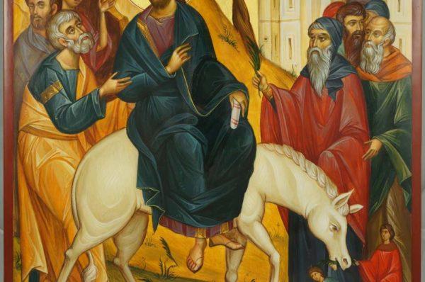 Herran Ratsastus Jerusalemiin palm_sunday Ride to Jerusalem hand-painted Byzantine Icon
