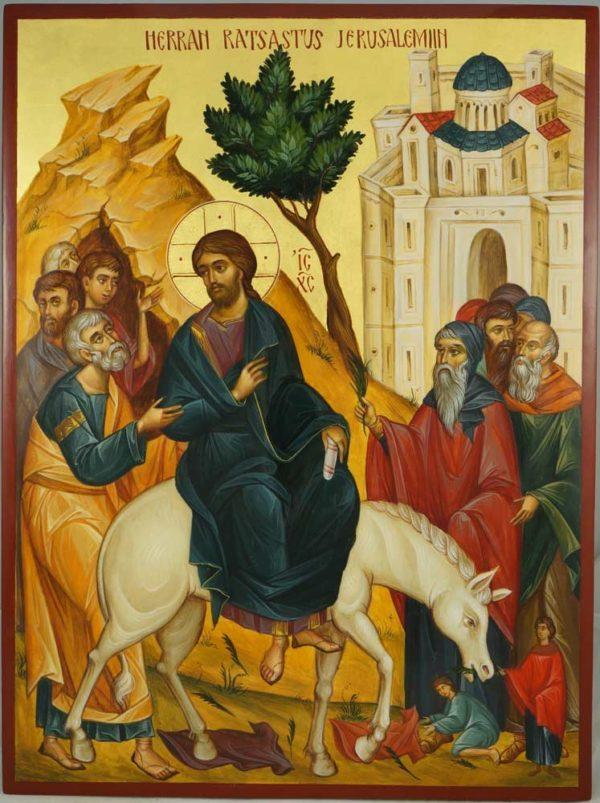 Entry Into Jerusalem (Palm Sunday) Hand-Painted Byzantine Icon