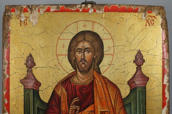 Jesus Christ Enthroned Angelos Hand-Painted Byzantine Icon