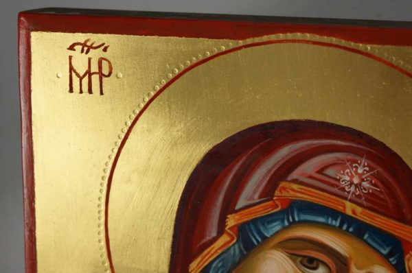 Mother of God Hodegetria Guide Hand-Painted Byzantine Icon Detail