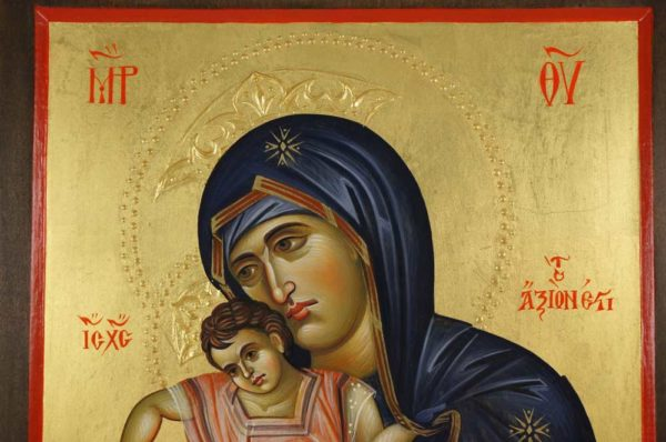 Panagia Axion Estin Dostoino Est Hand-Painted Byzantine Icon on Carved Wood