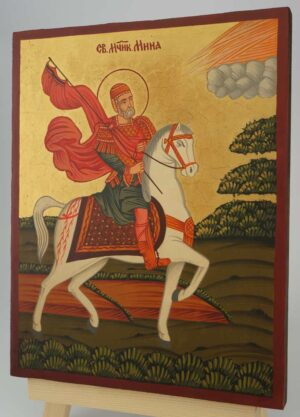 Saint Menas horseback Icon Hand Painted Byzantine Orthodox