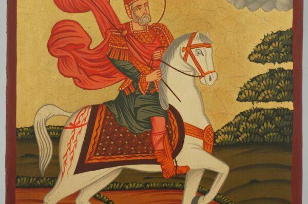 Saint Menas horseback Icon Hand Painted Byzantine Orthodox
