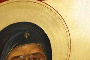 Saint Anthony of Egypt Hand-Painted Byzantine Icon Detail
