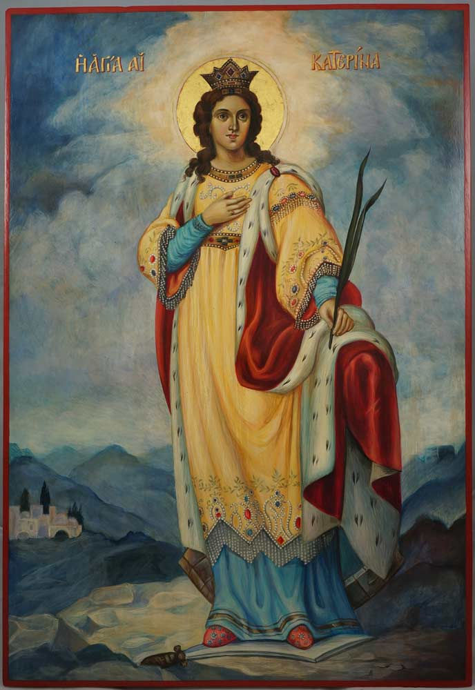 St Catherine of Alexandria Hand-Painted Russian Icon