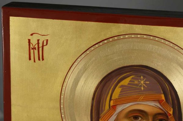 Virgin Mary Hodegetria Hand-Painted Icon Detail