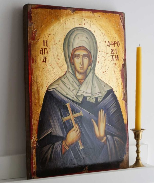 Saint Aphrodite Hand-Painted Greek Orthodox Icon