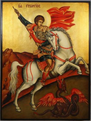 St George Slaying the Dragon Hand-Painted Byzantine Icon