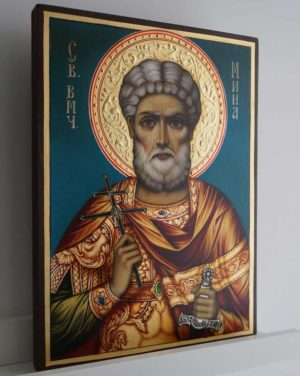 Martyr Menas of Egypt Hand-Painted Byzantine Icon