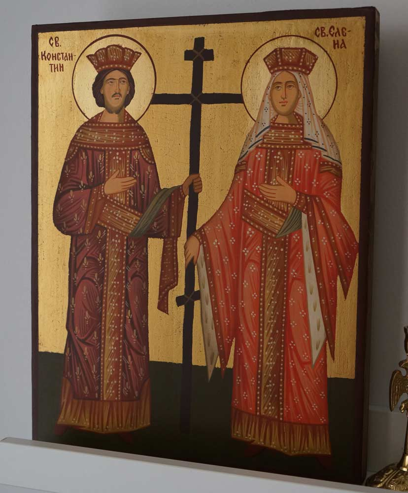 Sts Constantine and Helena Hand Painted Orthodox Icon on Wood