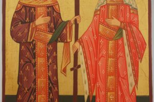 Sts Constantine and Helena Icon Hand Painted Byzantine Orthodox